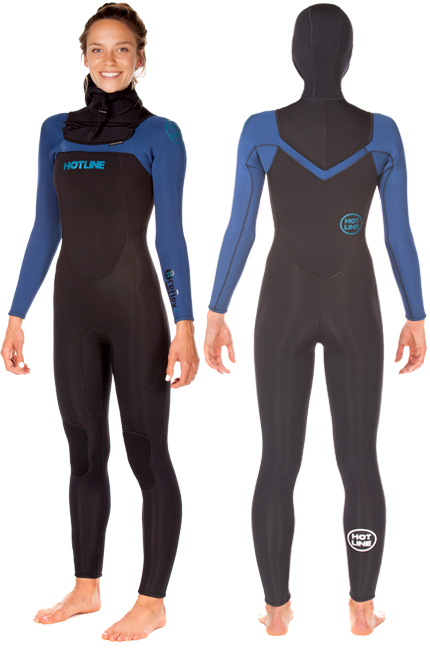Womens  Reflex 1.0  5/4mm Hooded Wetsuit - Solid Black