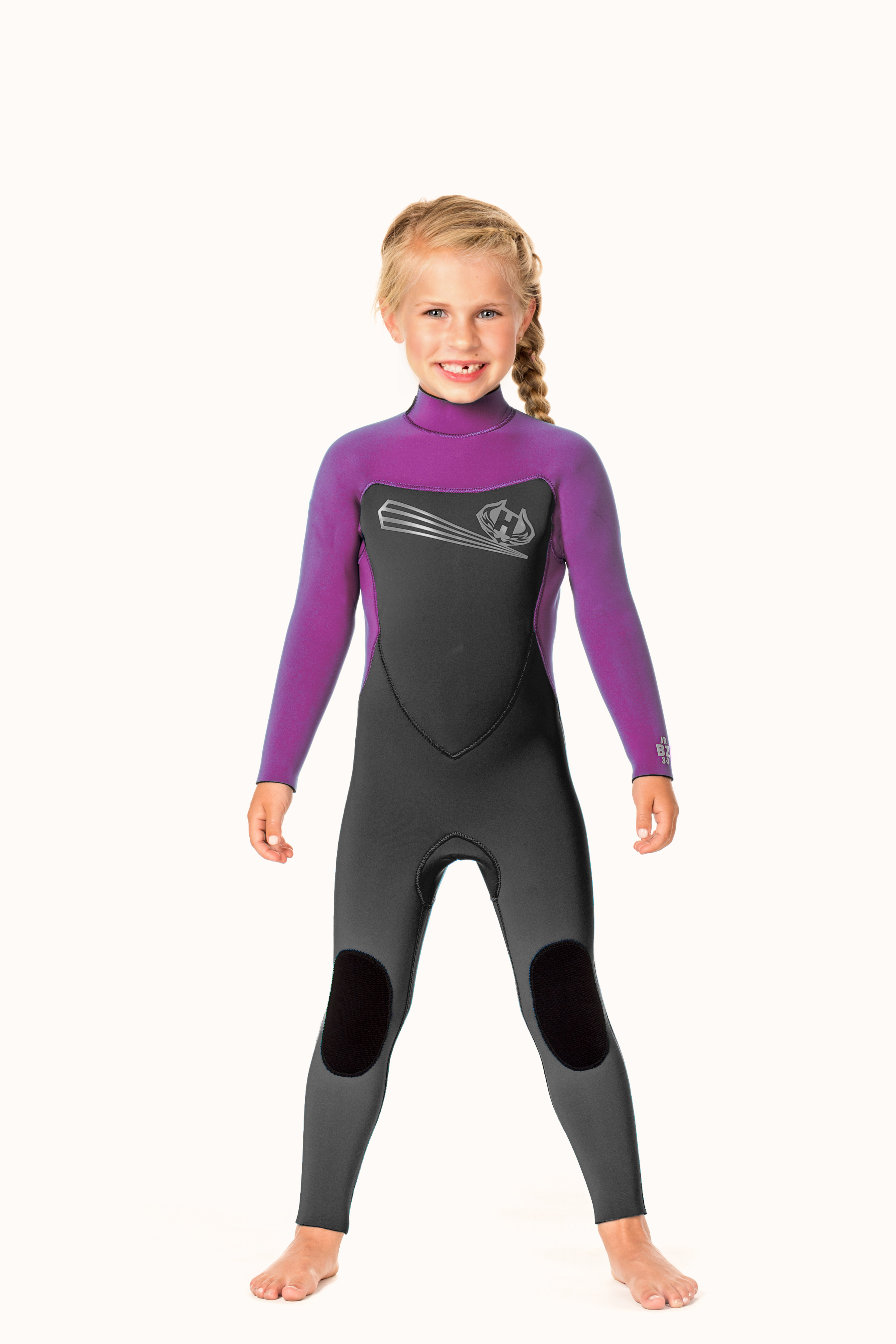 Toddler Back Zip 5/3m Wetsuit with Ankle Zippers - Raspberry/Royal Blue