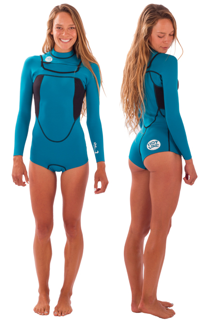 Womens She 2mm Long-Sleeve Chest Zip Spring  Wetsuit - Aqua