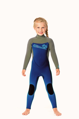 Toddler 5/3m Back Zip Wetsuit with Ankle Zippers - Aqua/Royal Blue