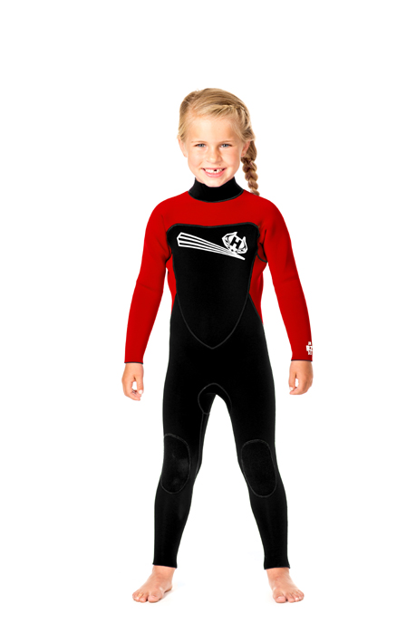 Toddler Back Zip 5/4m Wetsuit  with Ankle Zippers -  Red/Black