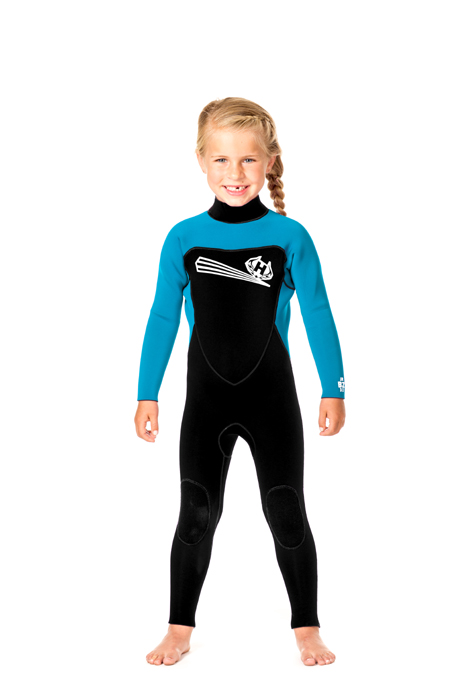 Toddler Back Zip 5/3m Wetsuit  with Ankle Zippers -  Aqua/Black