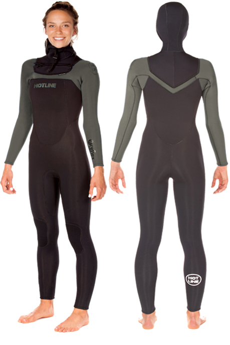 Womens  Reflex 2.0  5/4mm Hooded Wetsuit  - Olive/Black