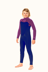 Junior Back Zip 4/3mm Wetsuit - Turquoise/Black