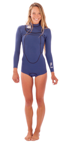 Womens She. 2mm Long Sleeve Bikini Cut Springsuit - Iodine