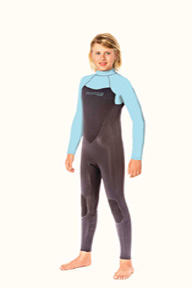 Junior Back Zip 4/3mm Wetsuit - Blue/Black
