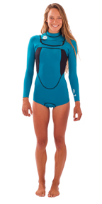 Womens She 2mm Long Sleeve Bikini Cut Springsuit - Aqua