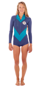 Womens She. VZ 2mm Long Sleeve Bikini Cut Springsuit - Iodine