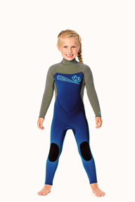 Toddler Back Zip 5/3mm Wetsuit -  Aqua/Black