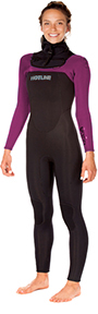 Womens  Reflex 2.0  5/4mm Hooded Wetsuit  - Raspberry/Black